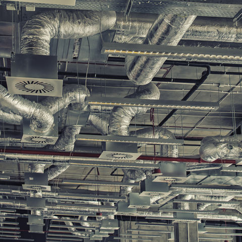 air ducts in a commercial warehouse